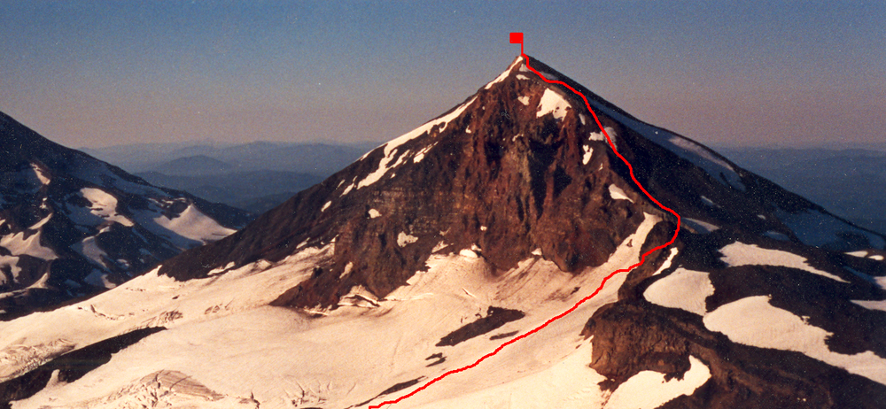 Middle Sister with climbing route marked.