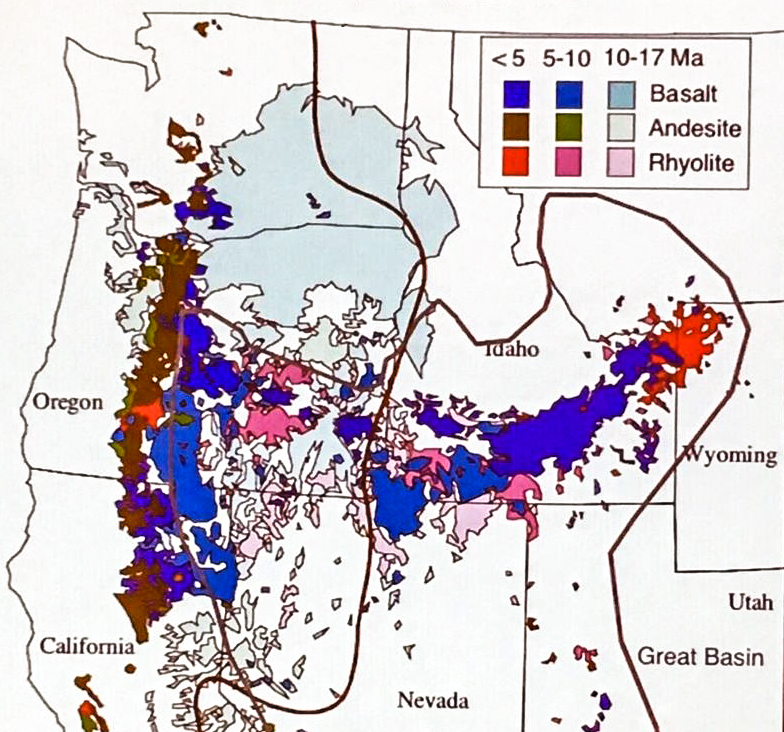 Volcanism illustration used in the lecture. Recent basalts are shown in a darker blue, and recent rhyolites in red. Older outcrops are faded in color. Miocene flood basalts are light blue. The browns are the andesite lavas mostly found in the Cascade Range.