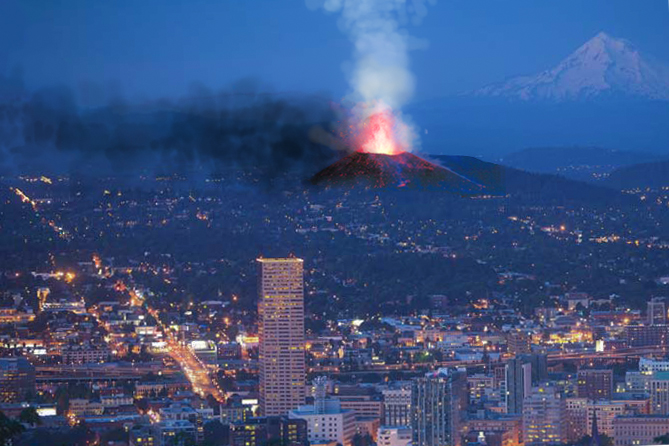 ERUPTION OF the now extinct MT. TABOR AS IMAGINED FROM MODERN DAY PORTLAND