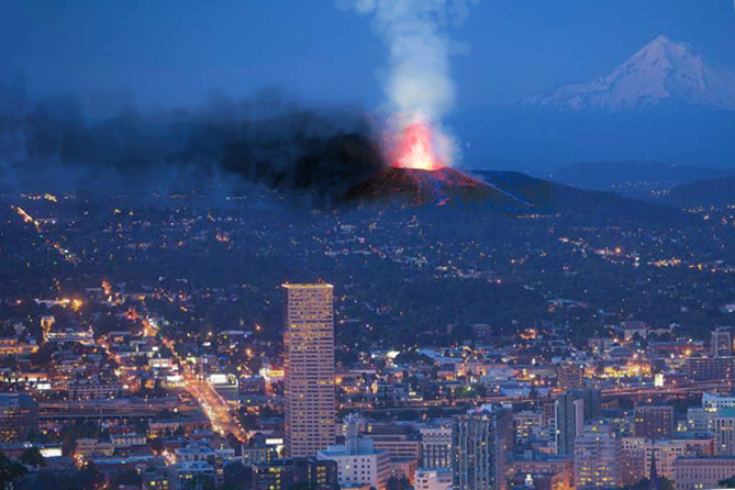 Eruption of BORING Volcanic Mt. Tabor as imagined from modern day portland