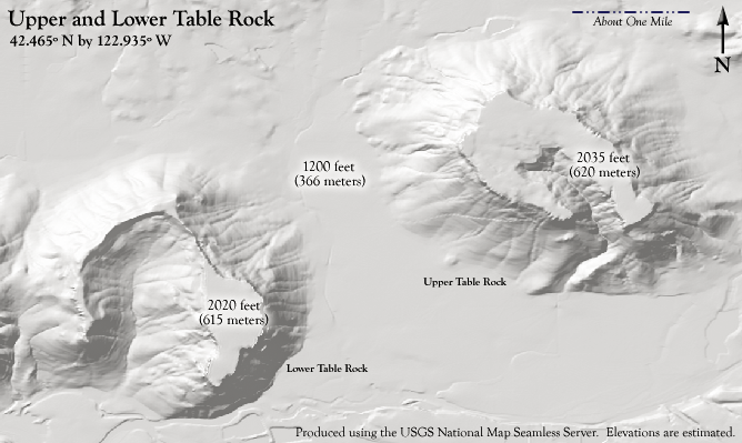 The topography of Table Rocks near Medford, Oregon . Created by ZabMilenko using Fireworks MX 2004, and information from the USGS National Map Seamless Server.