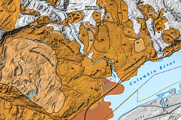 USGS: Excerpt from Columbia Gorge landslide map USGS-SIM 3358