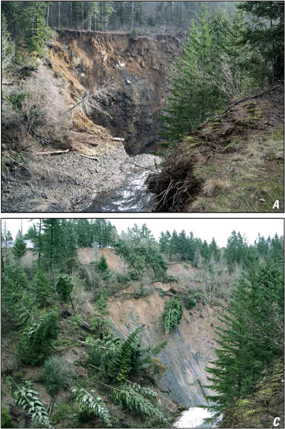 Sequential photos showing the progression of the Piper Road Landslide on Rock Creek. Upper photo was taken on February 6, 2007, and the lower photo taken on February 16, 2007, shot from the same location. Photos by Tom Pierson, USGS CVO.