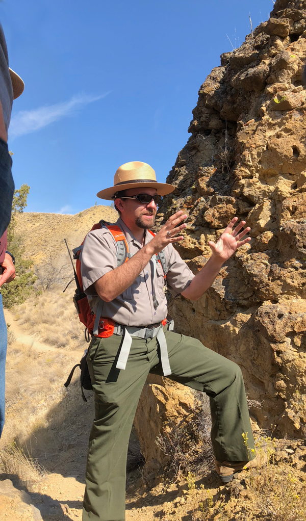 Dr. Famoso discusses the lahar deposits. Photo by Paul.