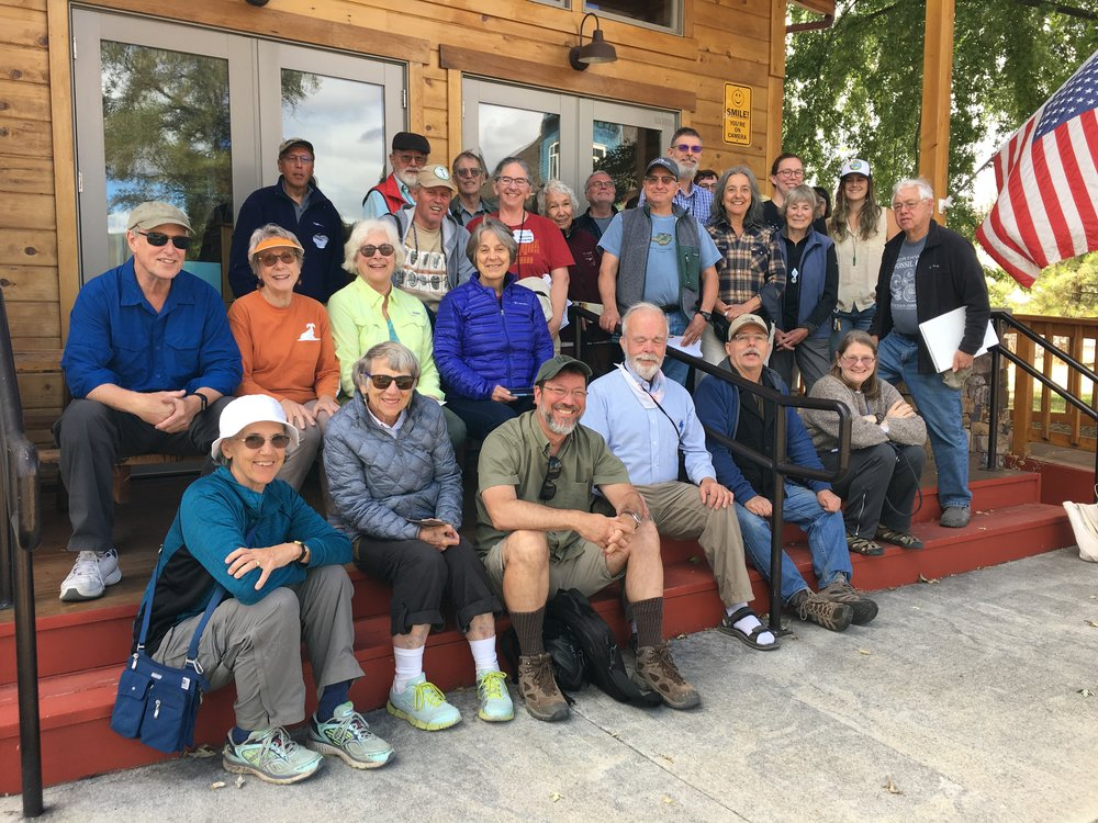 The 2018 GSOC President's Field Trip Participants pause for a photo on the porch at OPLI. First row from left Barbara Stroud, Nancy Overpeck, Paul Edison-Lahm, Dennis Chamberlin, Charlie Montross, Patty Hyatt. Second row Mark Anderson, Jan Kessler, Christina Bennett, Julia Lanning. Third row Bo Nonn, Barbara Smoody, Larry Jordan, Sheila Alfsen, Ann McKinney, Larry Purchase. Fourth row Herb Dirksen, Jon Stroud, Bill Orr, Fennella Robinson, John Scott, Bill Stein, Madison Ball, Megan Faust, Karyn Patridge. Photo by author.