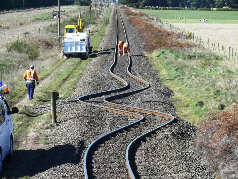 Typical track deformation due to ground surface motion in an earthquake.