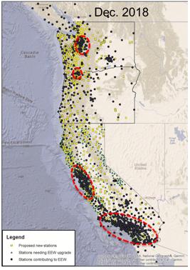 Seismic Station build-out progress as of December 2018 (www.shakealert.org)