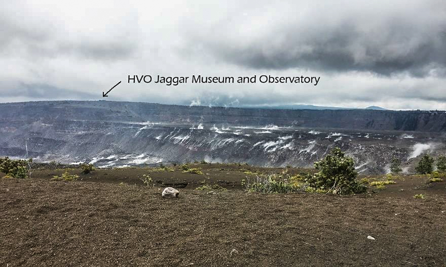 A recent photo by the author from near the south side of the Halemaumau caldera on the peak of the Kilauea volcano. This is as close of an approach to the caldera as the USGS will allow these days. Before the eruptions in 2008, you used to be able to drive around the caldera, park your car and walk right up to the edge and look in. That parking lot and viewpoint have fallen into the current caldera. Most of the caldera rim drive has also been closed, and pedestrians may walk down a section to this viewpoint.