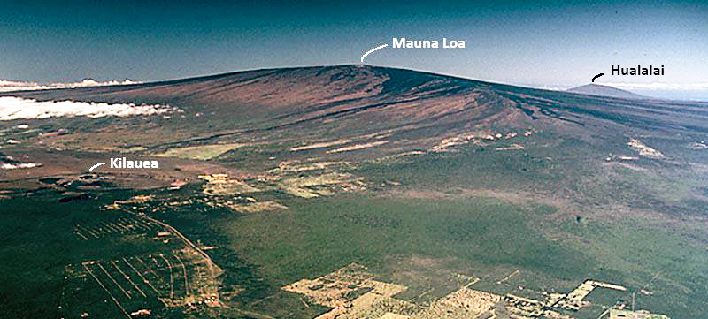 Scale of three of the volcanoes on the Big Island: Massive Mauna Loa in the center has erupted 33 times in historical times. It dwarfs the more active Kilauea. Hualalai shown in the distance is an active volcano and poses considerable risk to the Kona coast. Photo by USGS.