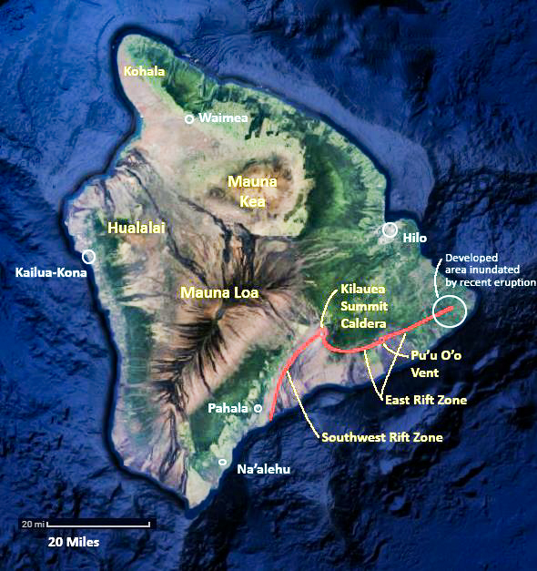 Above – orientation to the Big Island: Hawai'I is a pretty big place – the island contains 5 volcanoes, and cities are located away from most active volcanism and in the most level spots. Volcanic features are shown in yellow and orange, and cities and towns are in blue. The massive bulks of Mauna Loa, Mauna Kea, and Hualalai dominate the scenery. The slopes of Kilauea are fairly shallow in angle, and unfortunately, this attracts development. Map base is from Google Maps, which has not yet been updated since the 2018 eruptions.