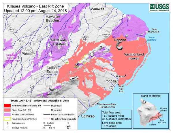 In this USGS map, the 2018 lava is shown in salmon orange. Older flows are in lavendar. Theis map is part of the USGS HVO website under the 2018 Activity tab.
