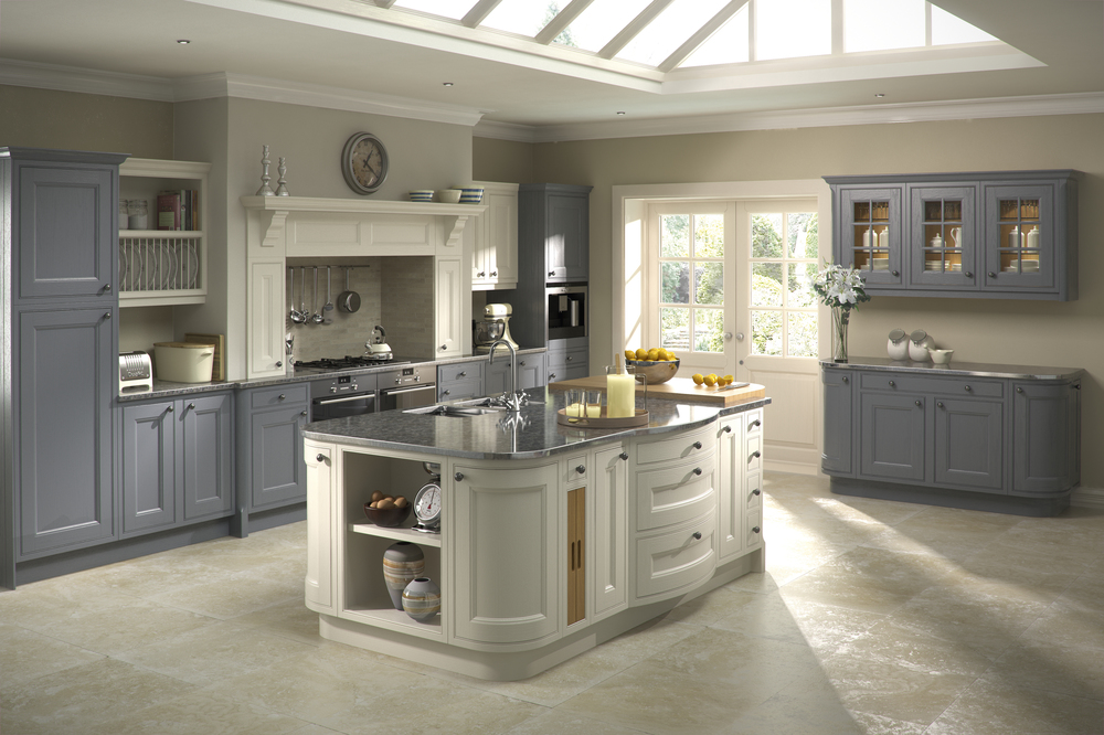 painted two tone kitchen