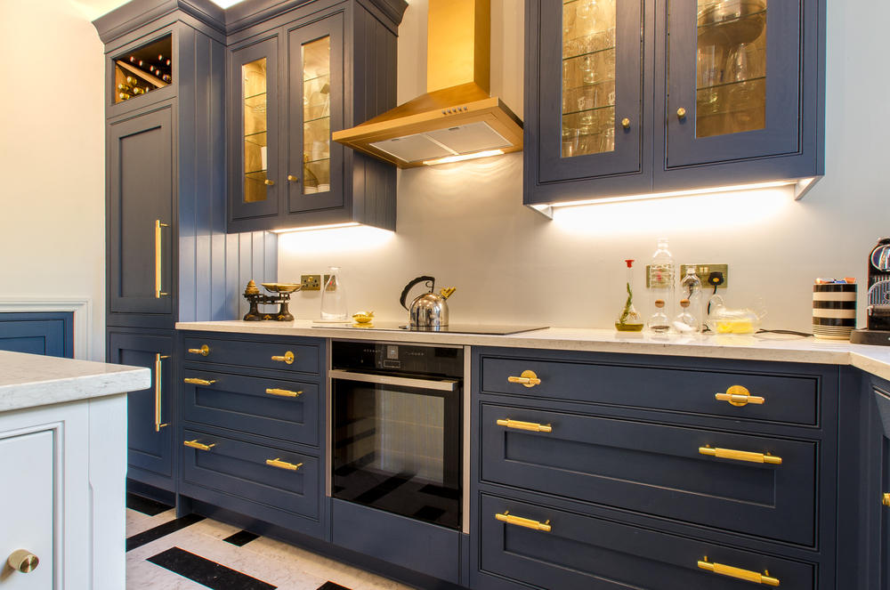 Blue and Brass kitchen