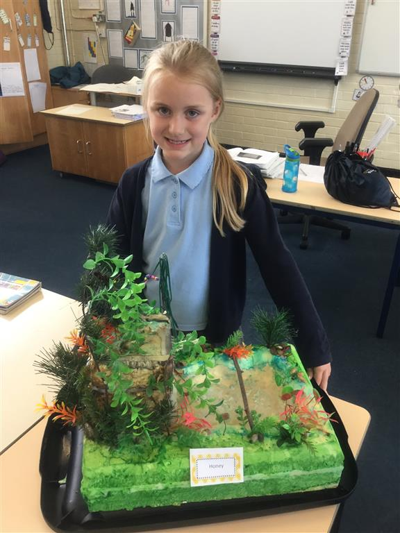 Honey has worked extremely hard at home to design and build a model of the rainforest that has water that runs down a waterfall.Wonderful work Honey, well done! -