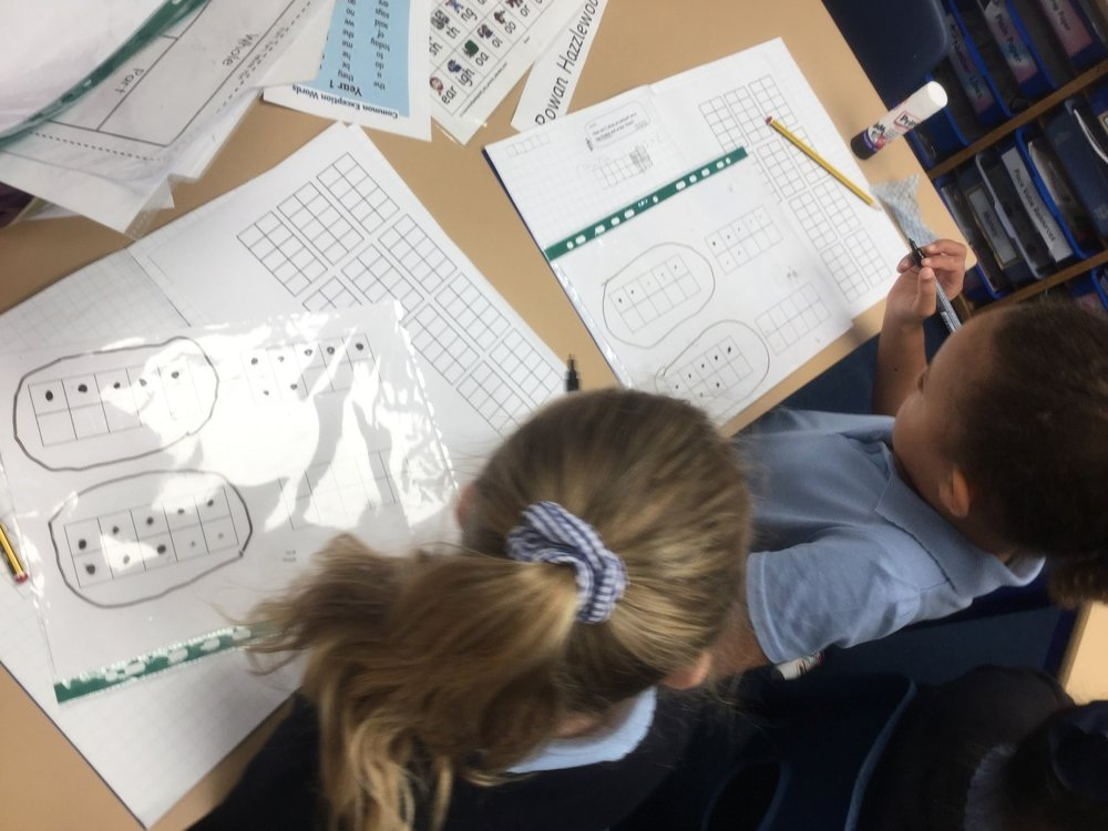 n Maths we have been learning to count forwards and backwards to 10 and 0. We have also been working on how to draw amounts on a ten frame. -