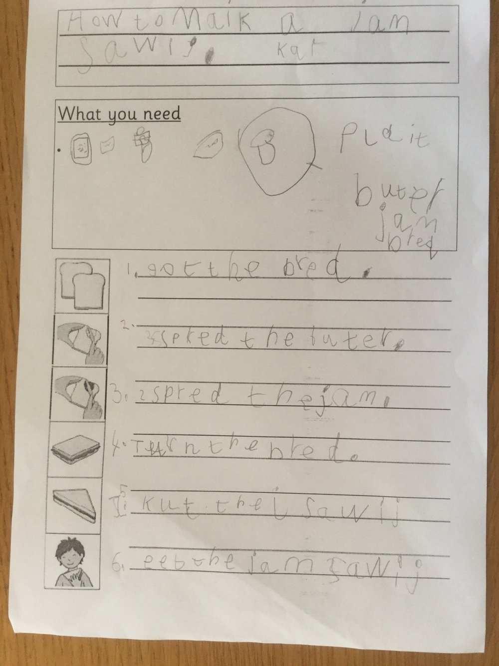I was very impressed with the effort that Kai showed. He worked hard to remember some capital letters and full stops as well as some of the features of instructions. -