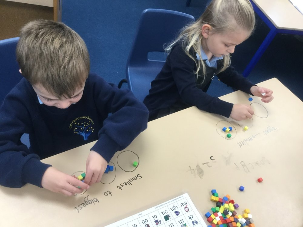 In Maths we have worked on ordering amounts in different ways, from the greatest to the smallest or smallest to greatest.We used objects to help us. -