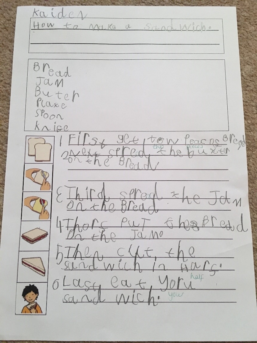 Kaiden then wrote his instructions up carefully using his text map. I was very impressed that Kaiden not only remembered to number his instructions, but he also made sure each sentence had a bossy word, time word, capital letter and a full stop! -