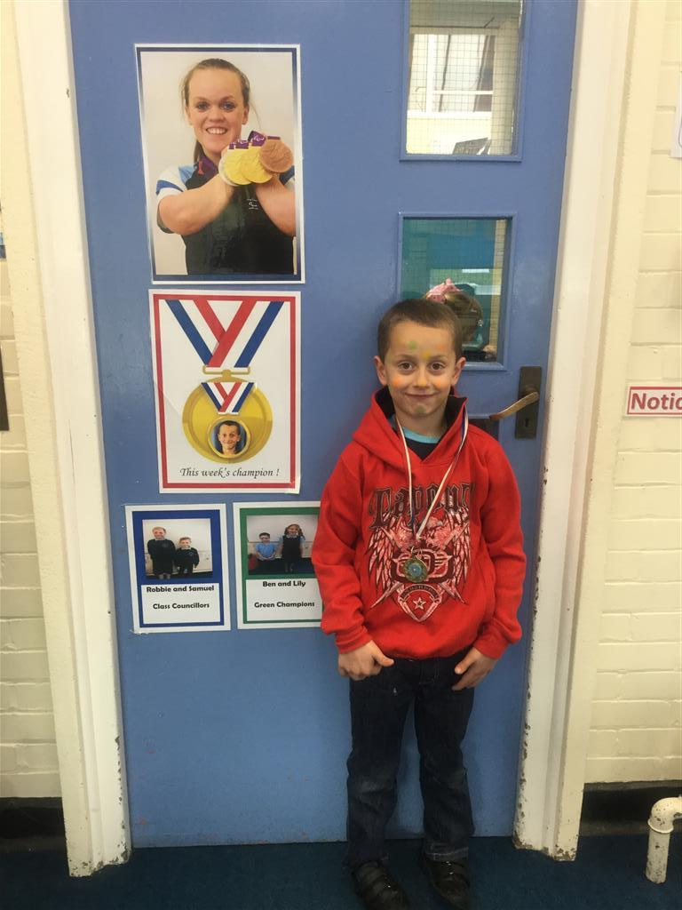 Our 'Champion of the Week' is Kye for his continuous hard work and effort in lessons, especially Guided Reading. He listens carefully and is always ready to share his answers and ideas with others. Well done Kye! -
