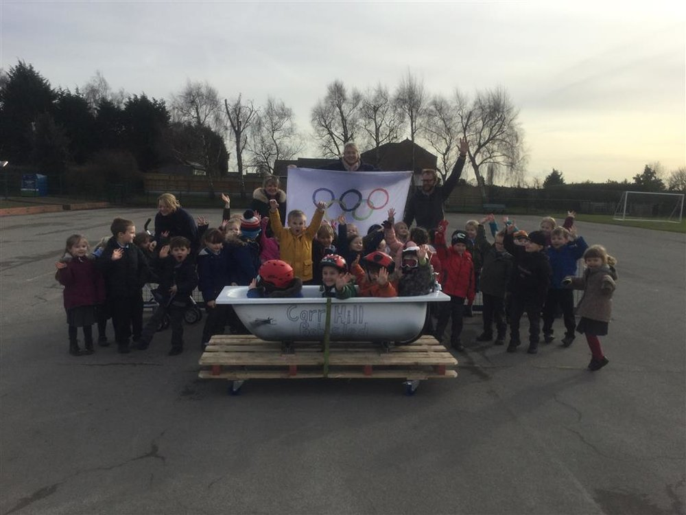 This week the children in Foundation got into the Olympic Spirit, learning about the spectacle of the opening ceremony and the different sports involved. They even got to try some of their own winter sports and this culminated in a Bobsled run across the playground! -