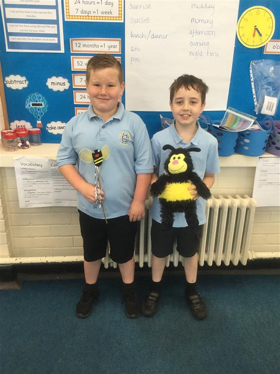 We have two new 'Spelling Bee Champions' who both scored 9 and out of 10 in a spelling test. Well done! -