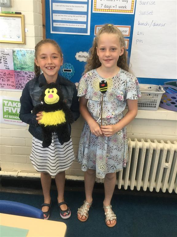 We have two new 'Spelling Bee Champions', Ava and Poppy. Well done for increasing your scores in a spelling test. Keep practising! -
