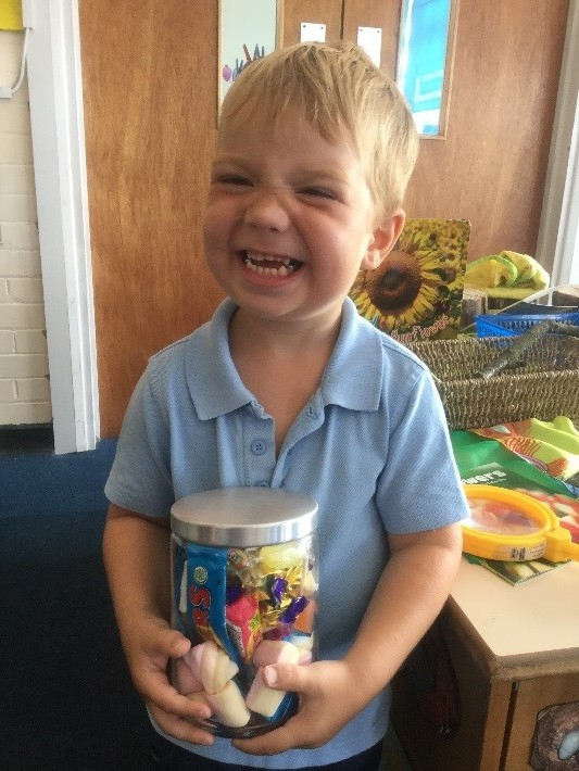 We held our Summer Enterprise challenge to estimate the number of sweets in the jar. Our lucky winner got to take the jar home with him! -
