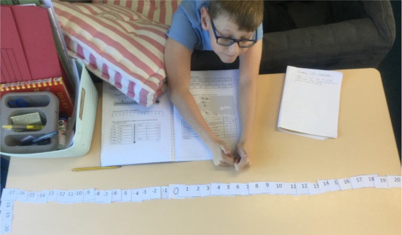 Jack is proud of his number line! -