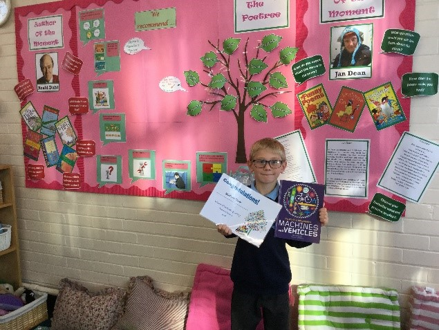 Matthew won our Reading Lottery for this half term. He has been reading lots at home and is having lots of success with his quizzes. Well done, Matthew! -