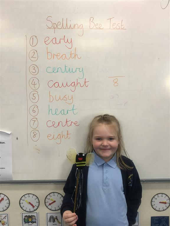 Our new 'Spelling Bee Champion' is Finlae, who has worked super hard to improve her spelling score. Well done and keep up the hard work! -