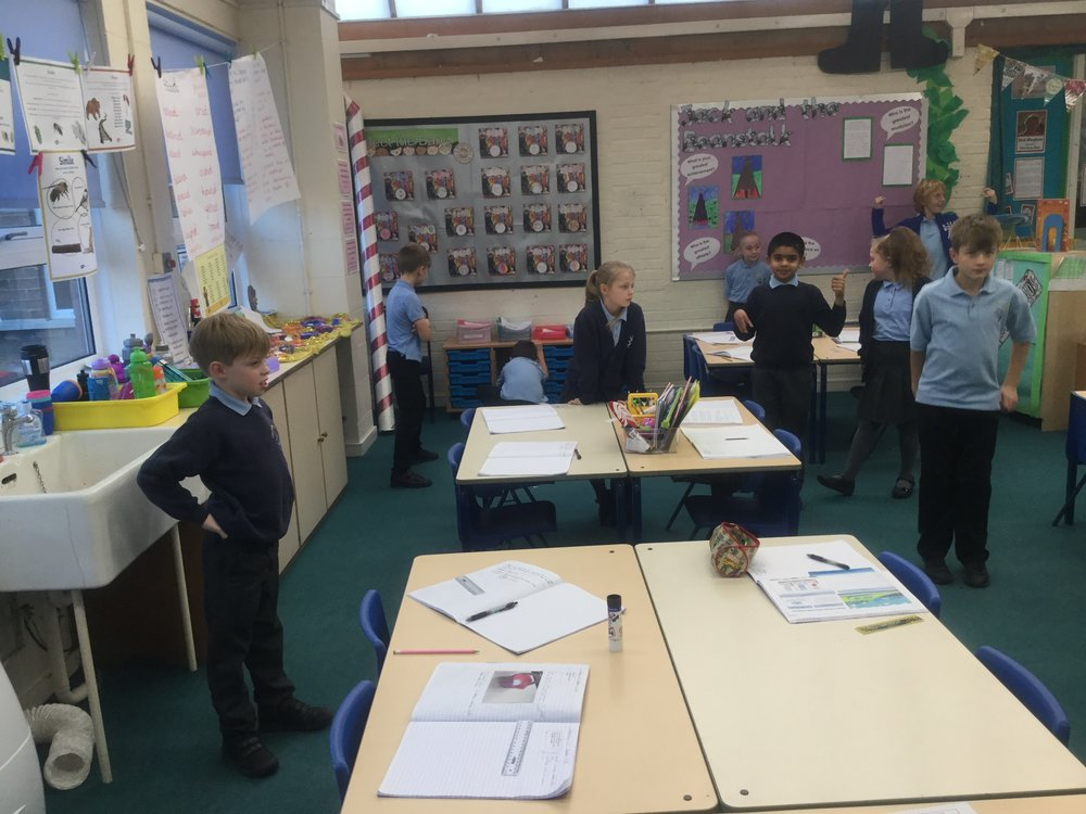 Gas particles are far apart – so we spread out across the classroom. -