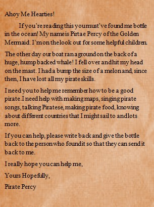 We found his letter in a bottle. -