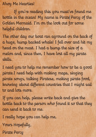 This week we started out new topic Pirates. First of all we received a message in a bottle! -