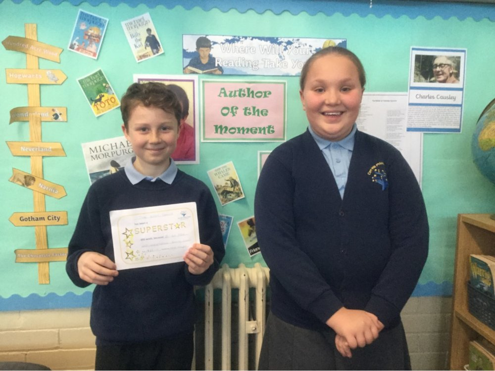 Superstars of the weekWell done Zak and Megan! Zak has been really focused during science and Megan has grown in confidence and is really making an effort to join in class discussion! Fab effort guys! Keep it up! -