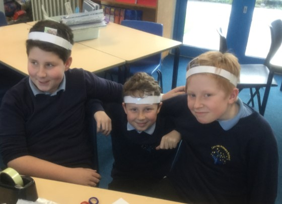Harry, Zak and Sam created their own version of hedbanz! -