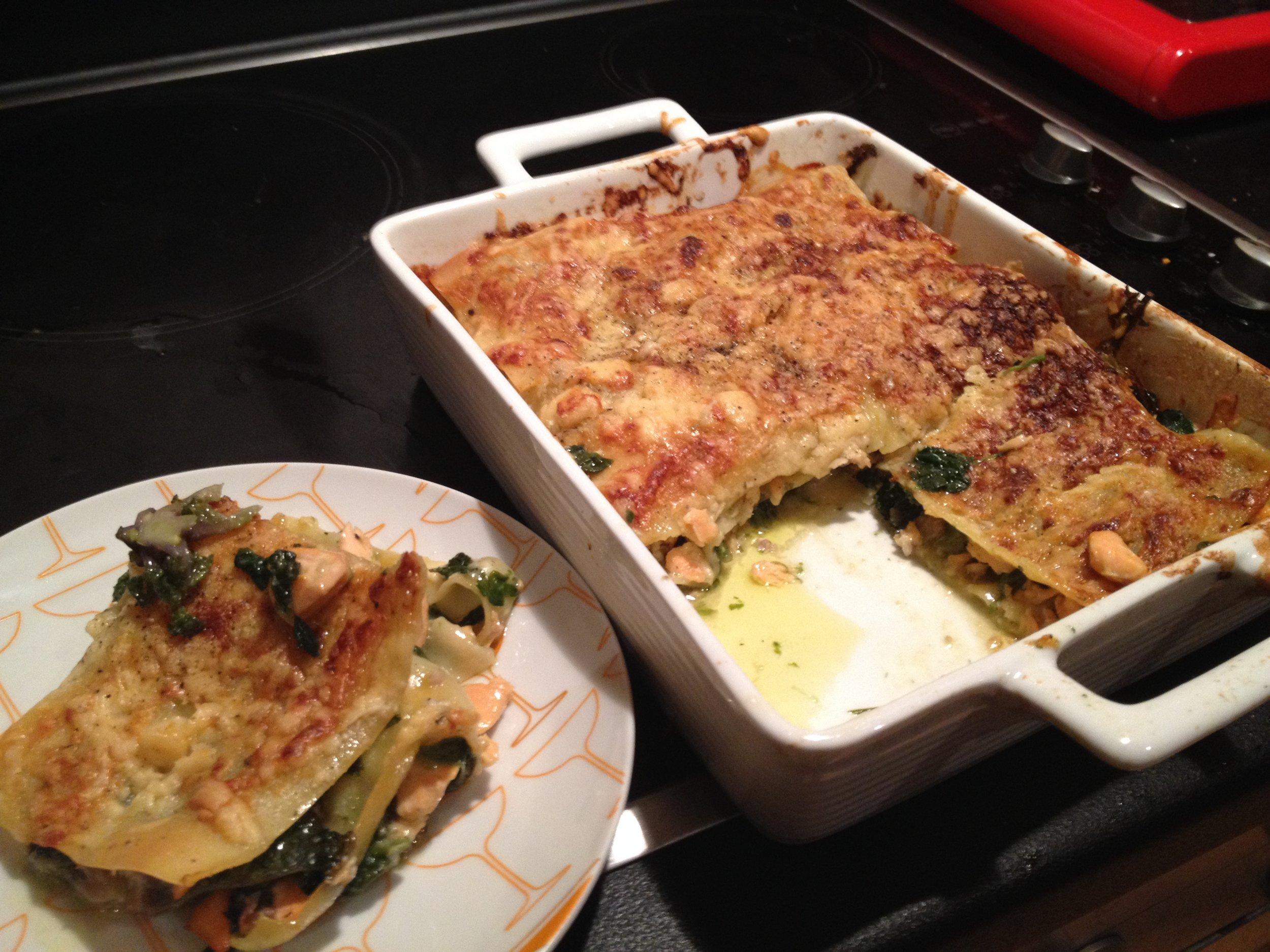 salmon spinach lasagne