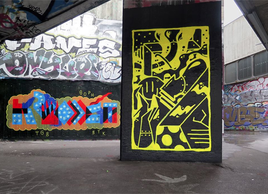 New layers of Paint at Southbank in 2016, photo and foreground by Darren John.