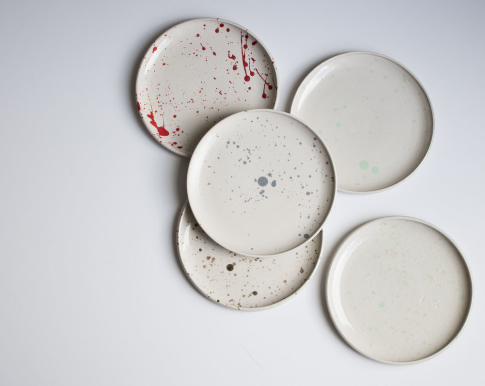 Stoneware and coloured dots.