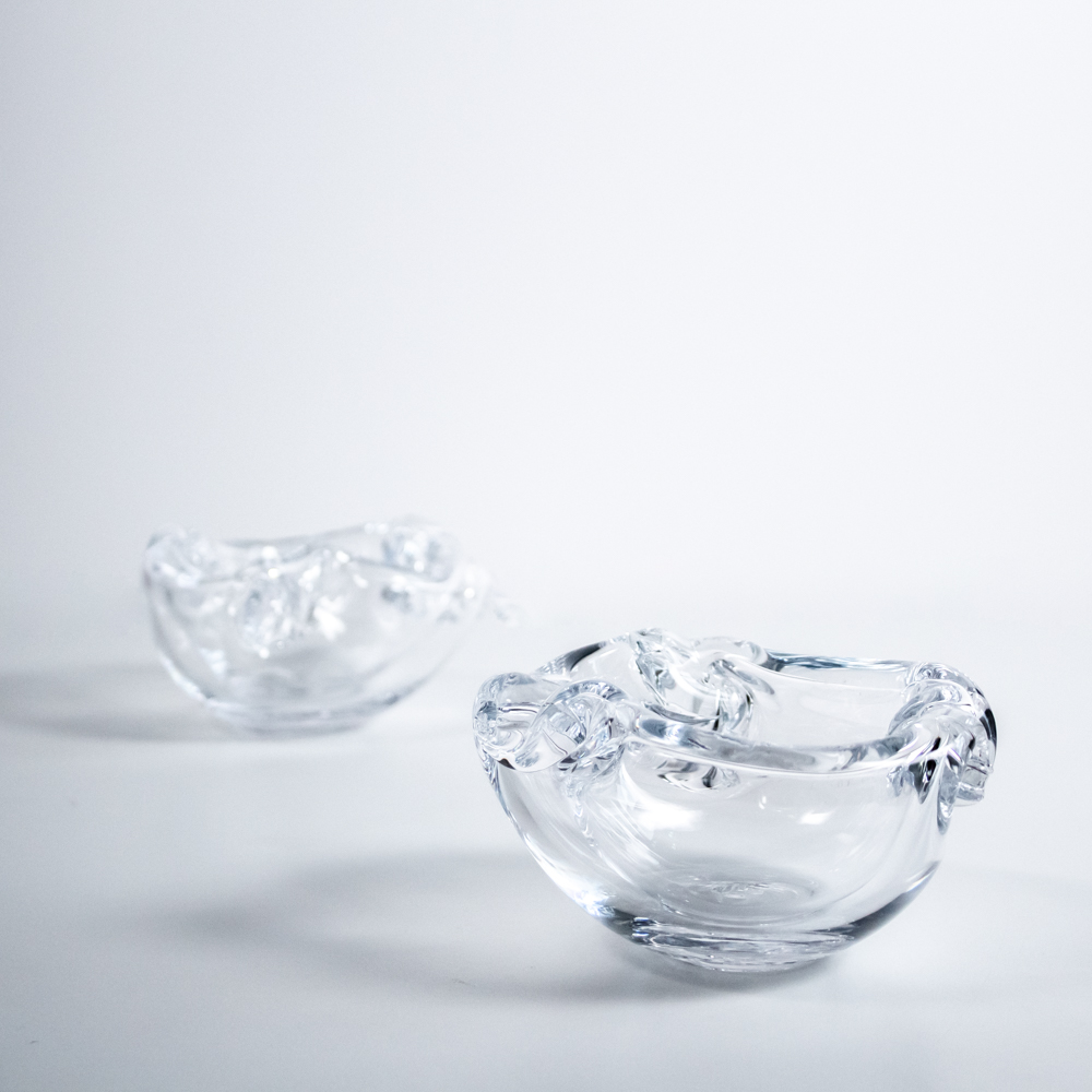Thick glass bowls.