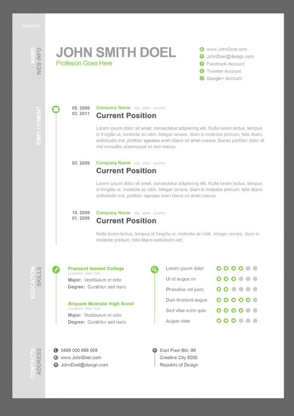 11 dazzling creative resume templates the free photoshop cv template yelopaper Image collections