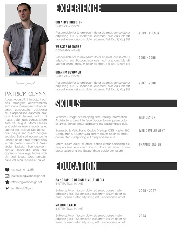 Resume Template  Best Creative Resumes