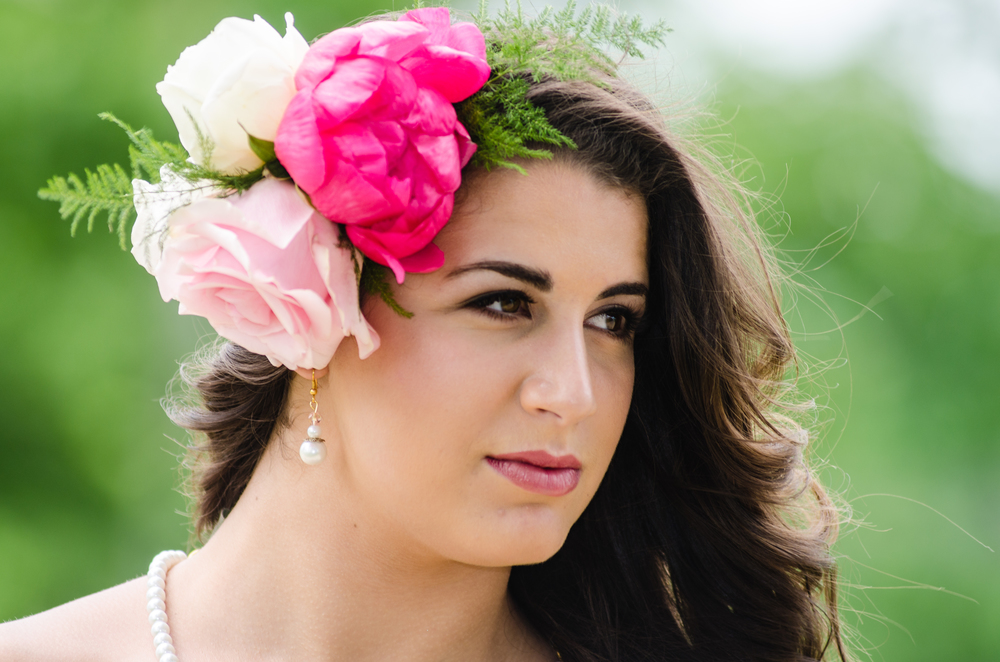 peony flower headband - bridal portraits - alaska
