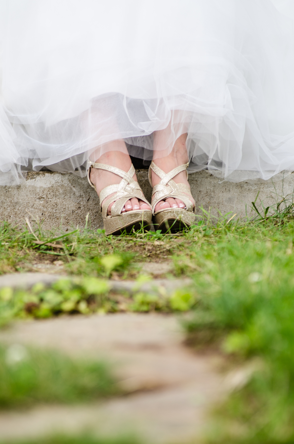 gold wedding shoes - alaska wedding photographer