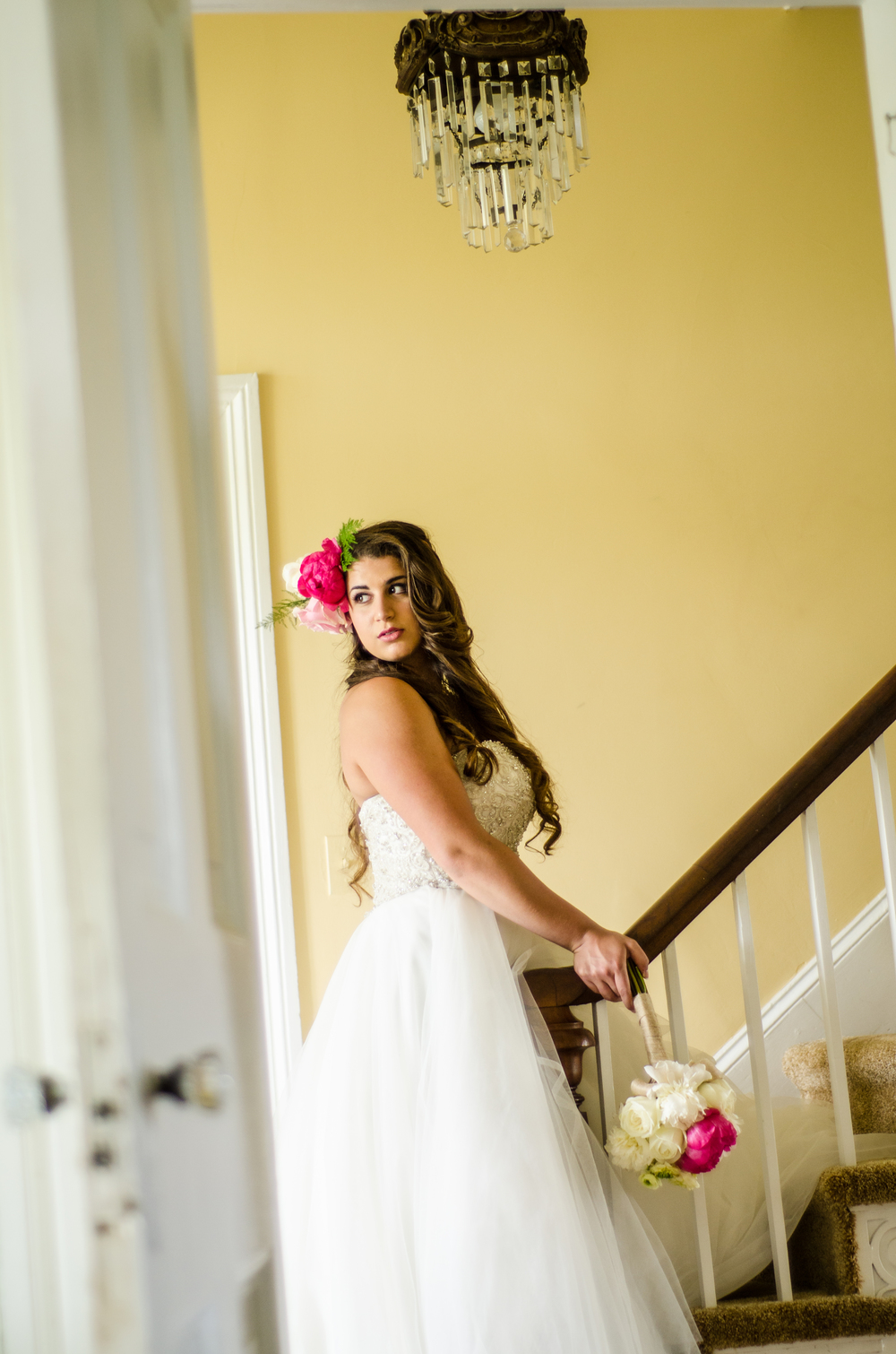 fairbanks wedding photographer - bride on stairwell