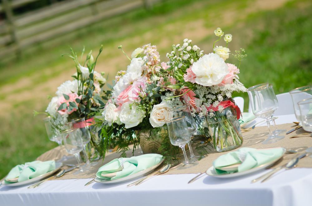 pretty wedding table - rustic farm wedding reception