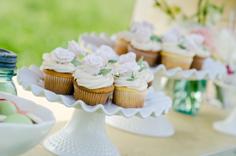 cupcake dessert table farm wedding - alaska