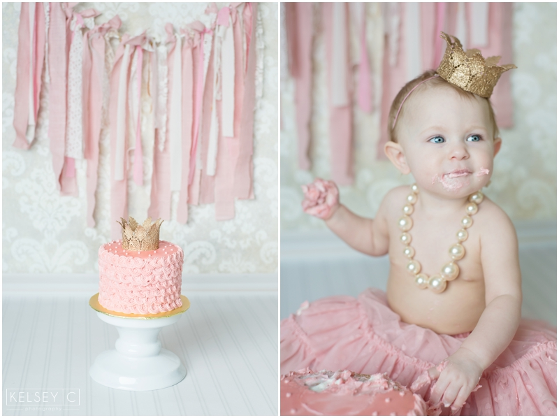 Kimber S 1 Year Photos Pretty Pink Cake Smash Fairbanks Photographer Kelsey Carlson Photography