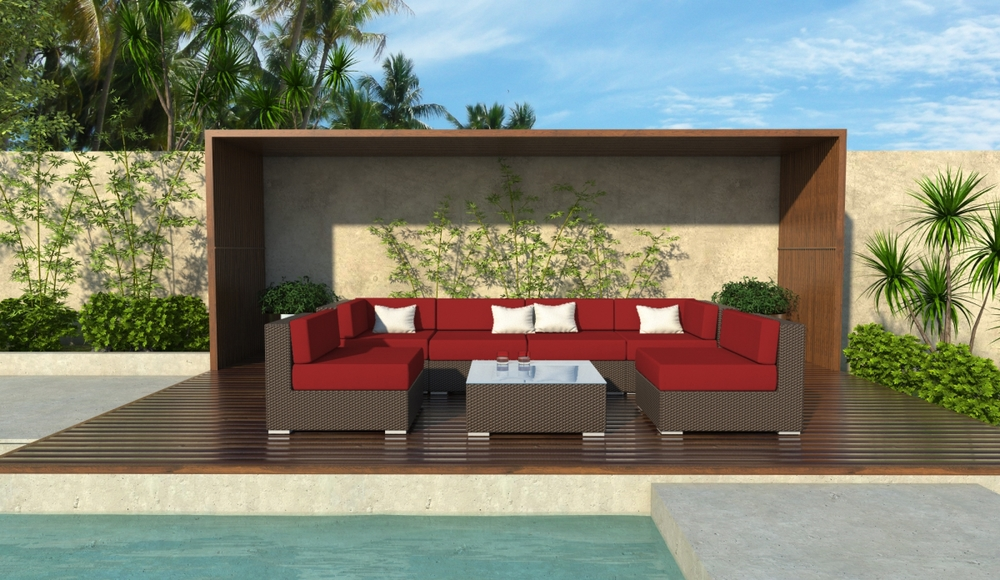 Damen 7 Piece Brown Wicker Patio Sofa Sectional Set