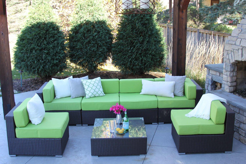 Damen 7 Piece Wicker Patio Sofa Sectional — MELDECCO PATIO FURNITURE