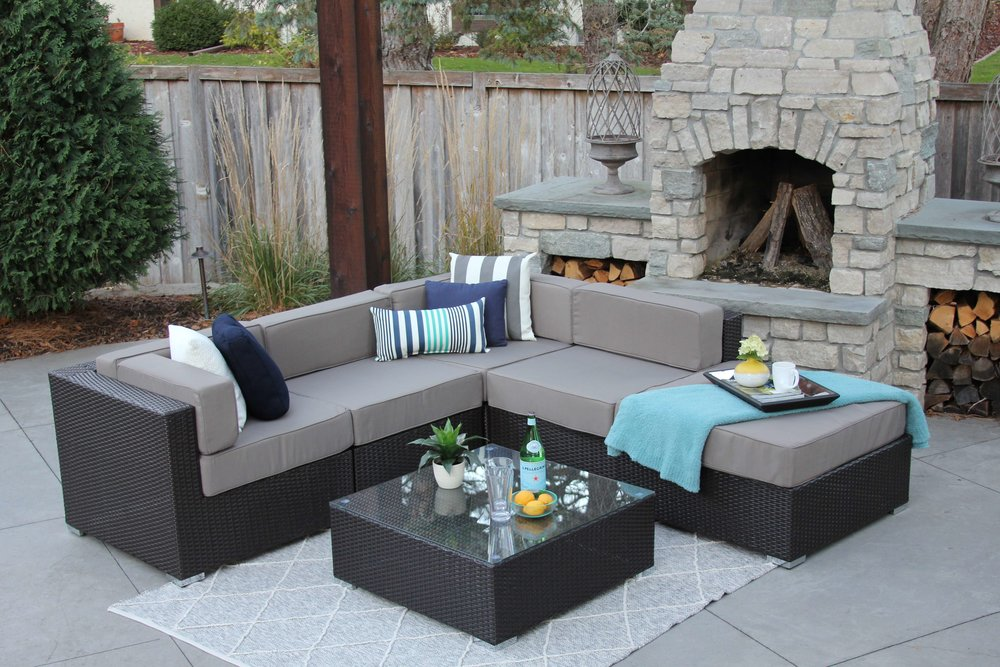 Halsteadu2022Nicolett Brown Gray.JPG : wicker patio sectional - Sectionals, Sofas & Couches